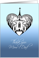 Thank you - Parents of the Groom - Church Scenery in a Heart card