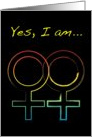 yes i am a lesbian : coming out announcements card
