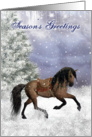 Winter Horse, Equine Fantasy Christmas Card