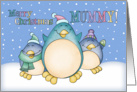 Mummy Christmas Card With Penguins card