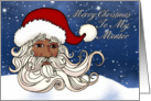 For Mentor , A Black Santa With Snow Merry Christmas card