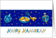 Hanukkah Greeting Card With Dreidel And Latkes card