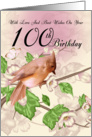 100th Birthday Card With Bird And Blossom card