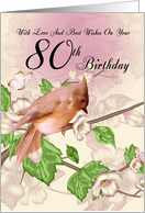 80th Birthday Card With Bird And Blossom card