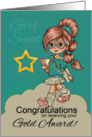 Girl Scout Gold Award Congratulations With Cute Scout Girl card