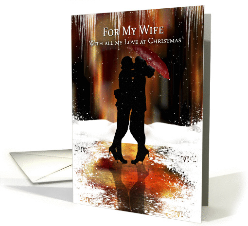 Lesbian Wife Holiday Card With Couple Kissing In The Snow
