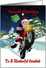 Grandad Motorcycle Santa With Flying Gifts And Winter Scenery card