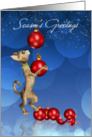 Season's Greetings Cat Swinging On Holiday Ornaments card
