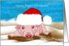 Christmas Greeting Card With Pig In A Christmas Hat card