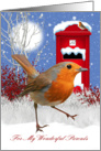 Parents Christmas Greeting Card With Robin And Mail Box card