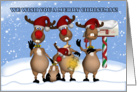 Singing Christmas Reindeer Greeting Card From All Of Us card