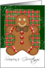 Plaid And Ginger Bread Man Holiday Card