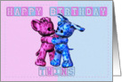 Twins Birthday Card - Pink And Blue Greeting Card