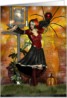 Happy Halloween Greeting with witch spider black cat card