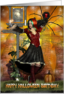 Happy Birthday Halloween Greeting with witch spider black cat card