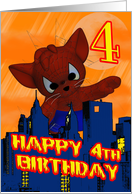 4th Birthday Spider Cat, Fourth Birthday Card