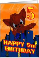 5th Birthday Spider Cat, Fifth Birthday Card