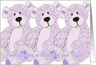Triplets Congratulations Teddy Bear in blue card