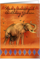 Godson Birthday Card With Elephant Butterfly And Zebra card