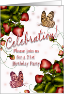 21th Birthday Party - Butterfly And Strawberry Invitation card