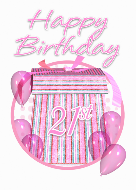 Buy 21st birthday gifts - 21st Birthday Gift Box Pink Happy Birthday card