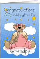 Grandpa New Baby Girl Congratulations card