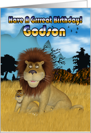 Godson Birthday Card - Lion And Cub card