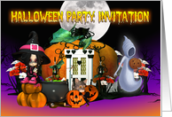 Halloween Invitation Card - Cartoon Halloween Invitation Card