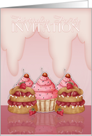 Birthday Party Invitation - Cupcakes And Frosting, Pink card