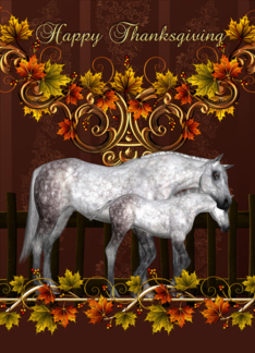 Thanksgiving Card With Mare And Foal - Equine Thanksgiving Card Greeting Card