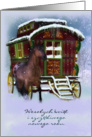 Polish Christmas Card - Horse And Old Caravan - Wesołych świąt card