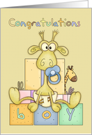 Congratulations Birth Of Baby Boy Card - Cute Baby Giraffe card