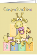 Congratulations Birth Of Baby Girl Card - Cute Baby Giraffe card