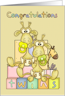 Congratulations Birth Of Twins Card - Cute Baby Giraffs card