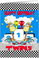 Twins Giraffe Birthday Card - Racing Giraffe card
