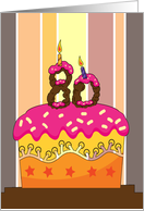 birthday - cake with candles 80 - 80th birthday Card