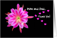Mom and Dad Thank You - Wedding - Flower and Hearts card