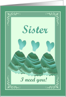 Winter Wedding - SISTER Maid of Honor card