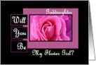 GODDAUGHTER - Be My Flower GIrl - Pink Rose card