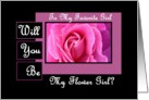 Be My Flower GIrl - Pink Rose card