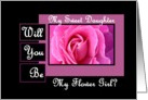 DAUGHTER Be My Flower GIrl - Pink Rose card