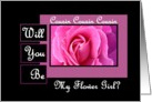 COUSIN Be My Flower GIrl - Pink Rose card