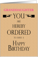 Granddaughter Birthday Lawyer Legal Theme Hereby Ordered Custom Text card