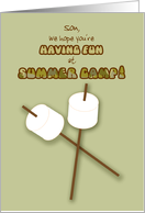Son Summer Camp Humorous Thinking of You Marshmallows on Sticks card