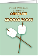 Goddaughter Summer Camp Humorous Thinking of You Marshmallows Sticks card