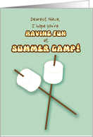 Niece Summer Camp Humorous Thinking of You Marshmallows on Sticks card