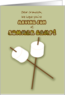 Grandson Summer Camp Humorous Thinking of You Marshmallows on Sticks card