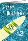 Surfer 12th Birthday with Surfboard in Ocean Graphic card