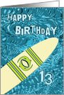 Surfer 13th Birthday with Surfboard in Ocean Graphic card