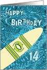 Surfer 14th Birthday with Surfboard in Ocean Graphic card